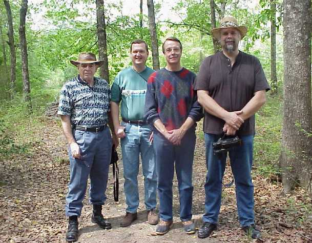 Robert Miller, Marty Barkley, Steve Hashagen and David Funk ready to survey the APN plot in spring of 2000